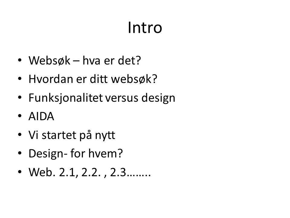 Intro • Websøk – hva er det. • Hvordan er ditt websøk.