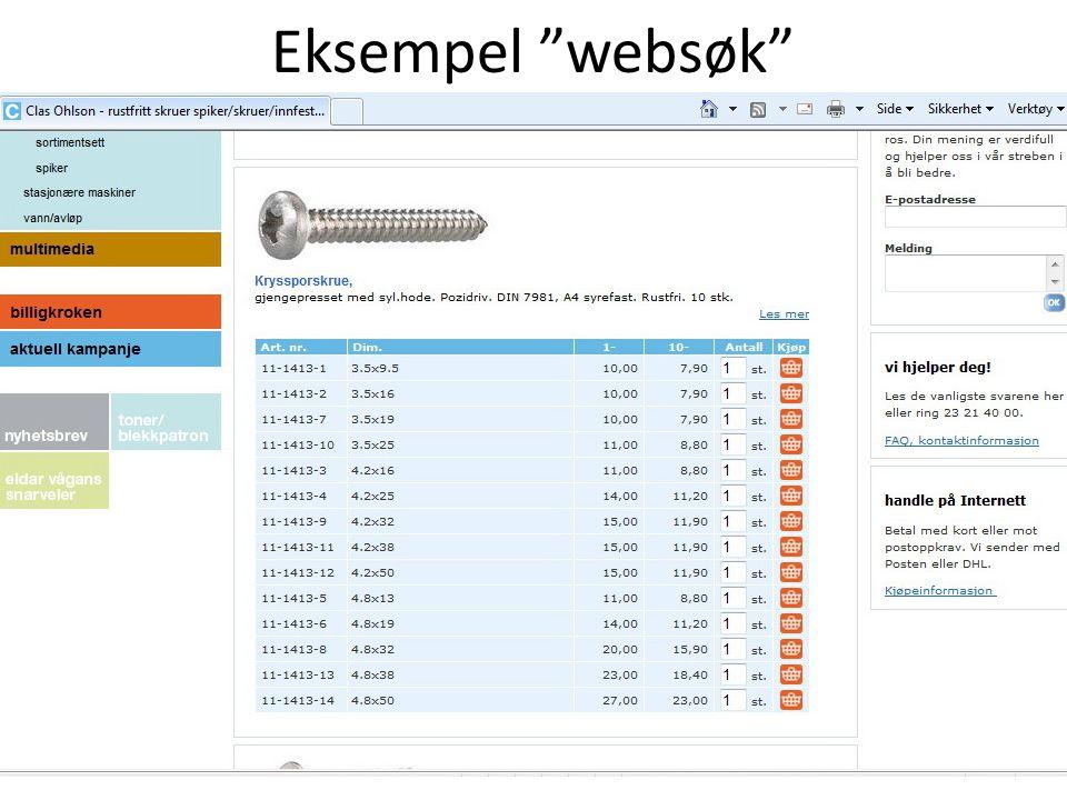 Eksempel websøk