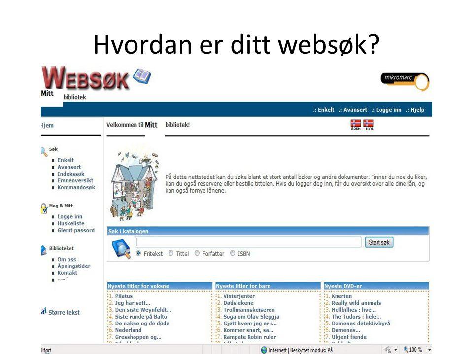 Hvordan er ditt websøk
