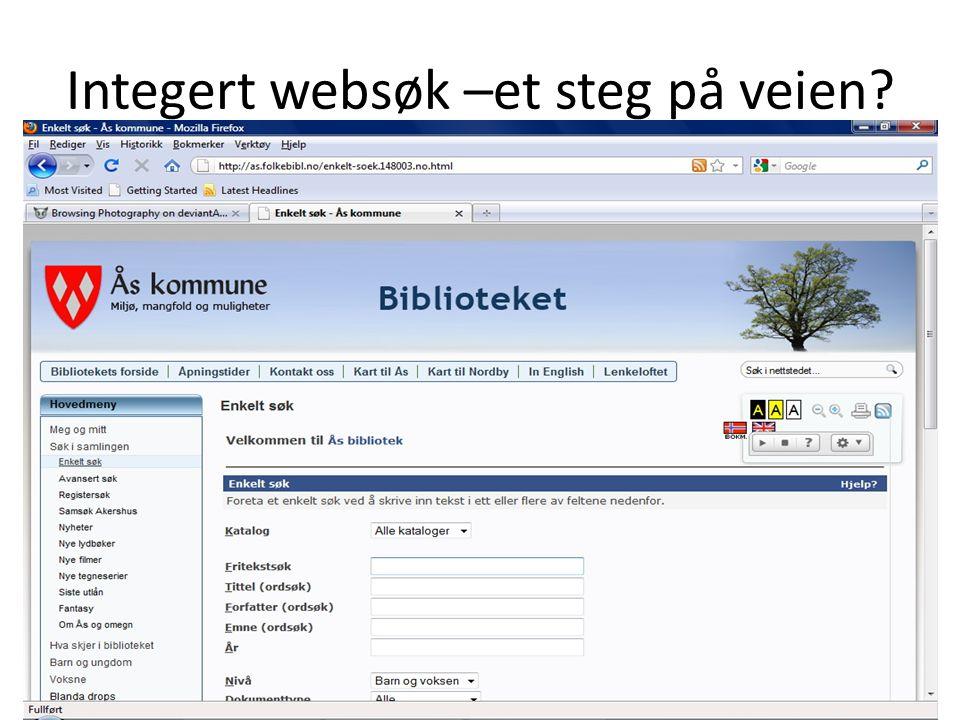 Integert websøk –et steg på veien?