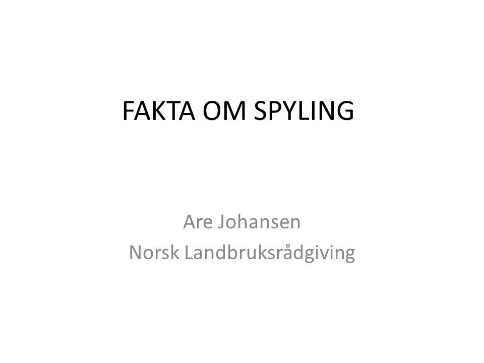 FAKTA OM SPYLING Are Johansen Norsk Landbruksrådgiving