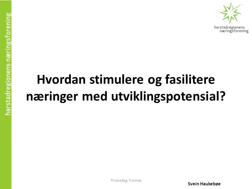 Prosssdag Tromsø Hvordan stimulere og fasilitere næringer med utviklingspotensial? Svein Haukebøe