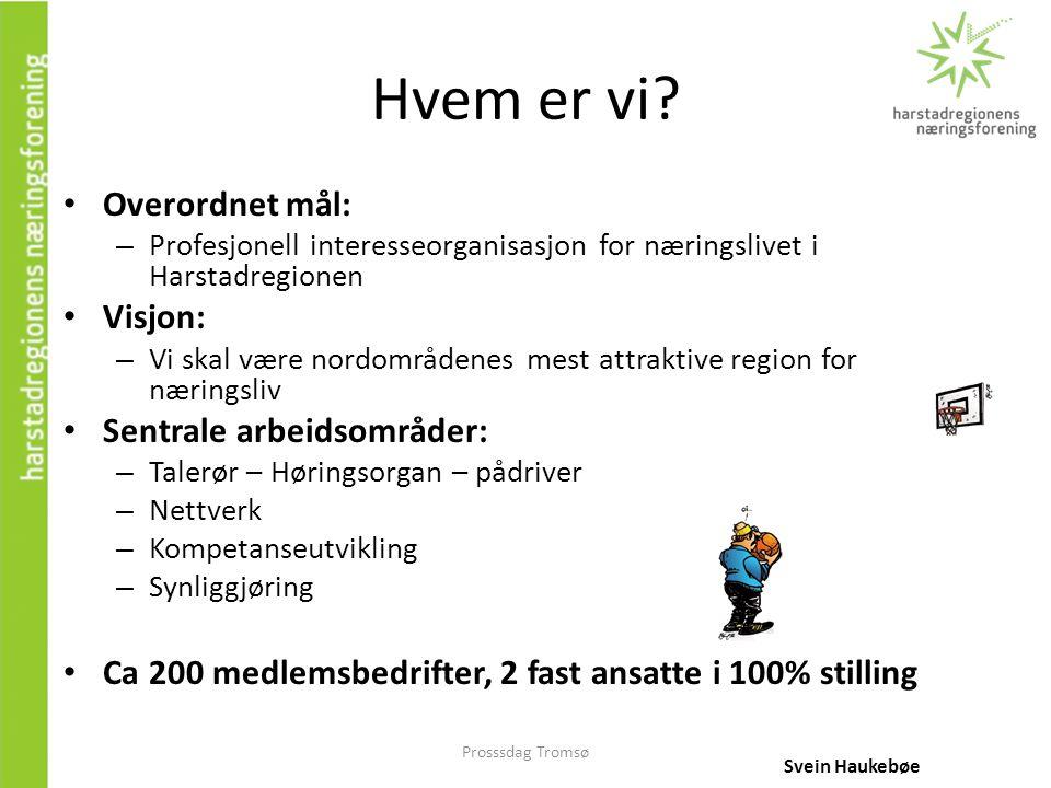 Prosssdag Tromsø Hvem er vi? • Overordnet mål: – Profesjonell interesseorganisasjon for næringslivet i Harstadregionen • Visjon: – Vi skal være nordom