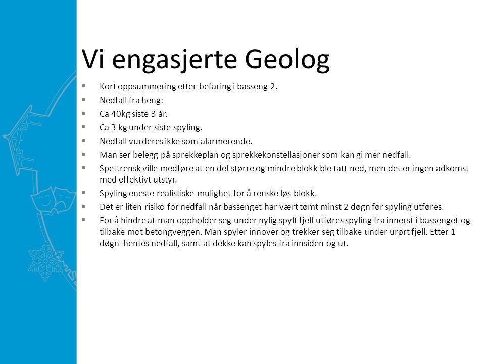 Vi engasjerte Geolog  Kort oppsummering etter befaring i basseng 2.
