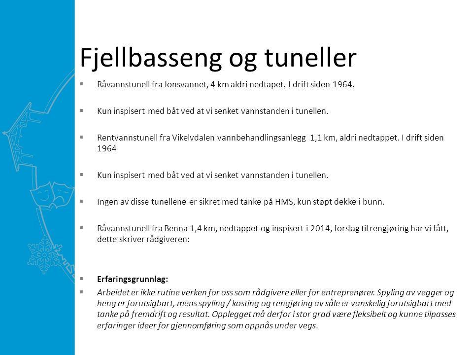 Fjellbasseng og tuneller  Råvannstunell fra Jonsvannet, 4 km aldri nedtapet.