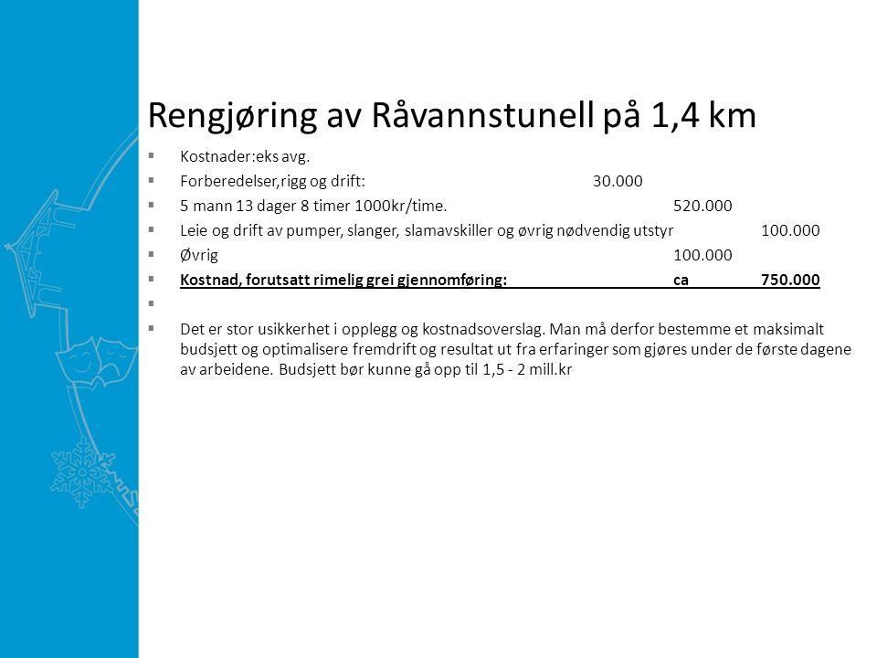 Rengjøring av Råvannstunell på 1,4 km  Kostnader:eks avg.