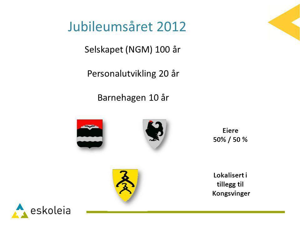 Eiere 50% / 50 % Lokalisert i tillegg til Kongsvinger Selskapet (NGM) 100 år Personalutvikling 20 år Barnehagen 10 år Jubileumsåret 2012