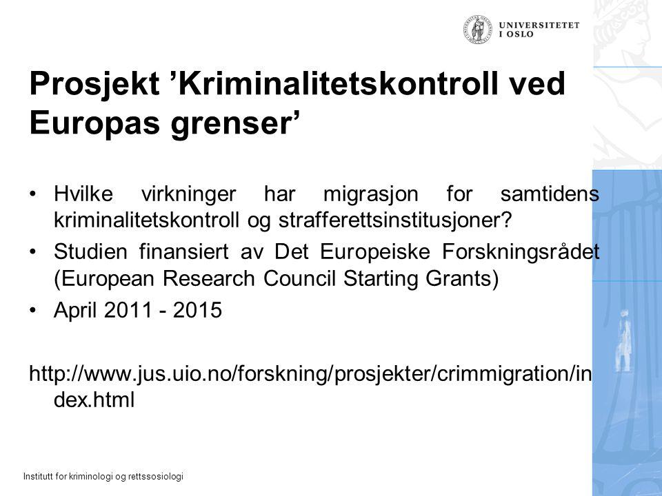 Institutt for kriminologi og rettssosiologi Foreign prisoners (% of total prison population): Switzerland 70,2% Greece 55,5% Austria 46,4% Belgium 41,1% Italy 36% Spain 35,4% Norway 32,5% Sweden 28,3% Germany 26,4% Netherlands 26,2% Denmark 21,7% UK 12% USA 5,9% Source: World Prison Brief: http://www.kcl.ac.uk/depsta/law/research/icps/worldbrief/