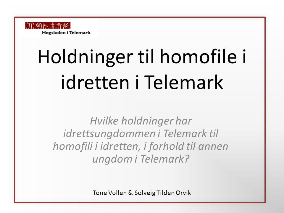 Holdninger til homofile i idretten i Telemark Hvilke holdninger har idrettsungdommen i Telemark til homofili i idretten, i forhold til annen ungdom i