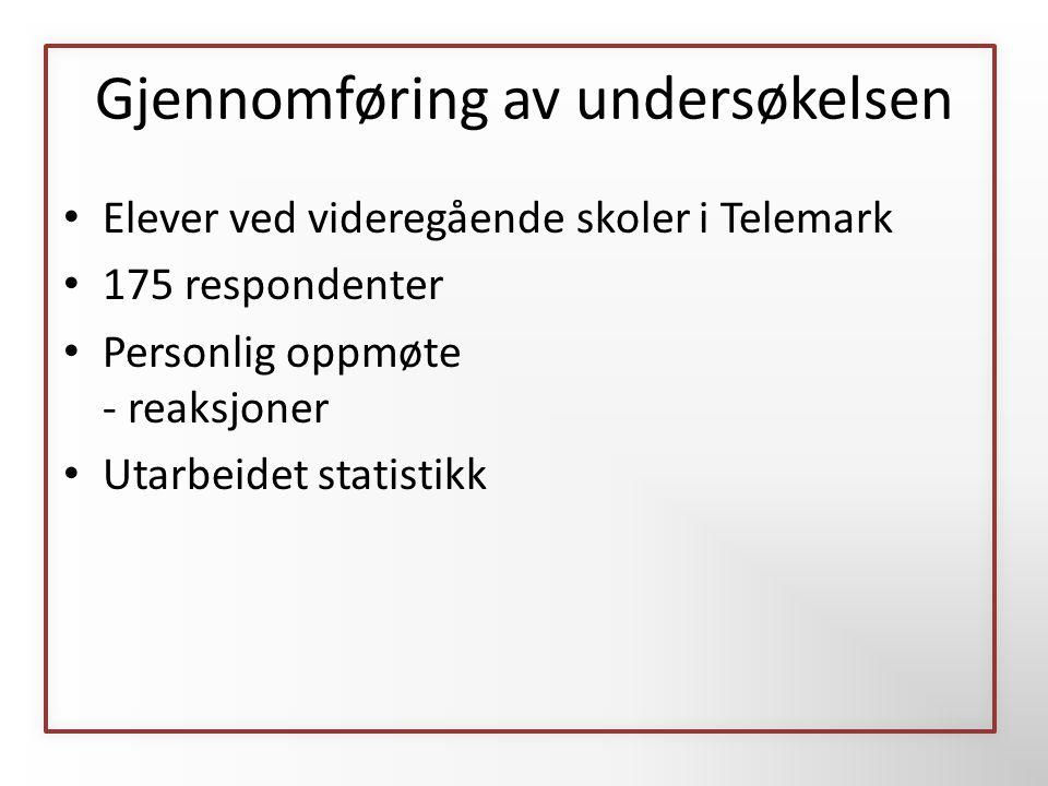 Gjennomføring av undersøkelsen • Elever ved videregående skoler i Telemark • 175 respondenter • Personlig oppmøte - reaksjoner • Utarbeidet statistikk