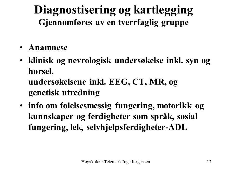 Høgskolen i Telemark Inge Jørgensen17 Diagnostisering og kartlegging Gjennomføres av en tverrfaglig gruppe •Anamnese •klinisk og nevrologisk undersøke
