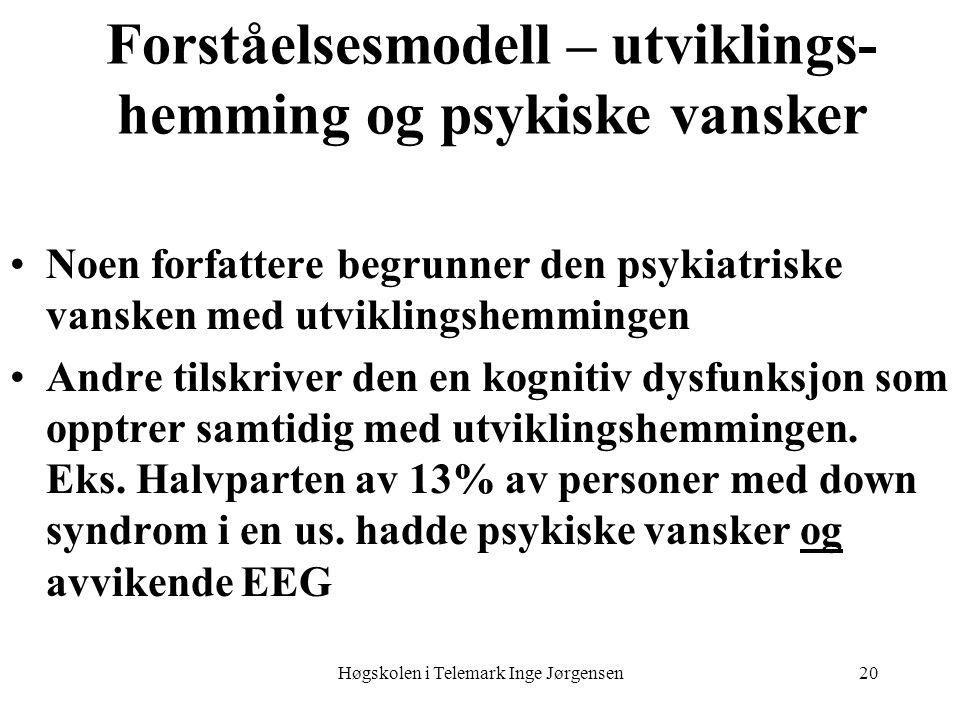 Høgskolen i Telemark Inge Jørgensen20 Forståelsesmodell – utviklings- hemming og psykiske vansker •Noen forfattere begrunner den psykiatriske vansken