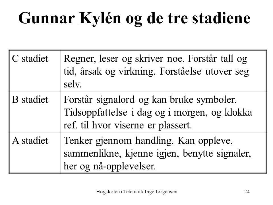 Høgskolen i Telemark Inge Jørgensen24 Gunnar Kylén og de tre stadiene C stadietRegner, leser og skriver noe. Forstår tall og tid, årsak og virkning. F