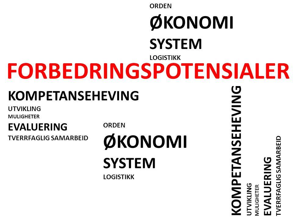 FORBEDRINGSPOTENSIALER KOMPETANSEHEVING UTVIKLING MULIGHETER EVALUERING TVERRFAGLIG SAMARBEID KOMPETANSEHEVING UTVIKLING MULIGHETER EVALUERING TVERRFAGLIG SAMARBEID ORDEN ØKONOMI SYSTEM LOGISTIKK ORDEN ØKONOMI SYSTEM LOGISTIKK