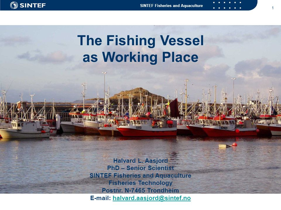 SINTEF Fisheries and Aquaculture 1 The Fishing Vessel as Working Place Halvard L. Aasjord PhD – Senior Scientist SINTEF Fisheries and Aquaculture Fish