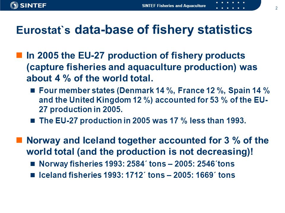 SINTEF Fisheries and Aquaculture 2 Eurostat`s data-base of fishery statistics  In 2005 the EU-27 production of fishery products (capture fisheries and aquaculture production) was about 4 % of the world total.