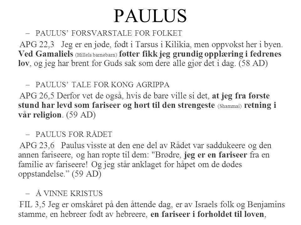 PAULUS –PAULUS' FORSVARSTALE FOR FOLKET APG 22,3 Jeg er en jøde, født i Tarsus i Kilikia, men oppvokst her i byen. Ved Gamaliels (Hillels barnebarn) f