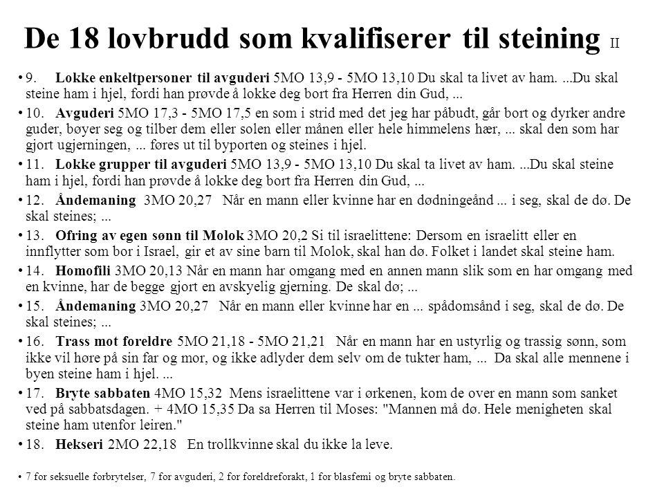 De 18 lovbrudd som kvalifiserer til steining II •9. Lokke enkeltpersoner til avguderi 5MO 13,9 - 5MO 13,10 Du skal ta livet av ham....Du skal steine h