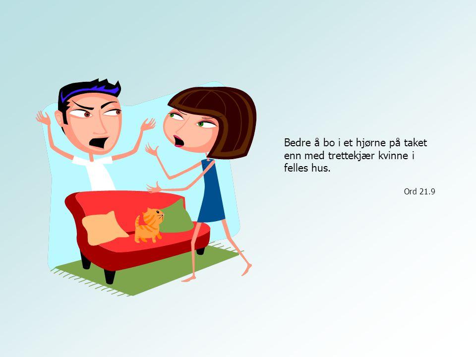 Bedre å bo i et hjørne på taket enn med trettekjær kvinne i felles hus. Ord 21.9