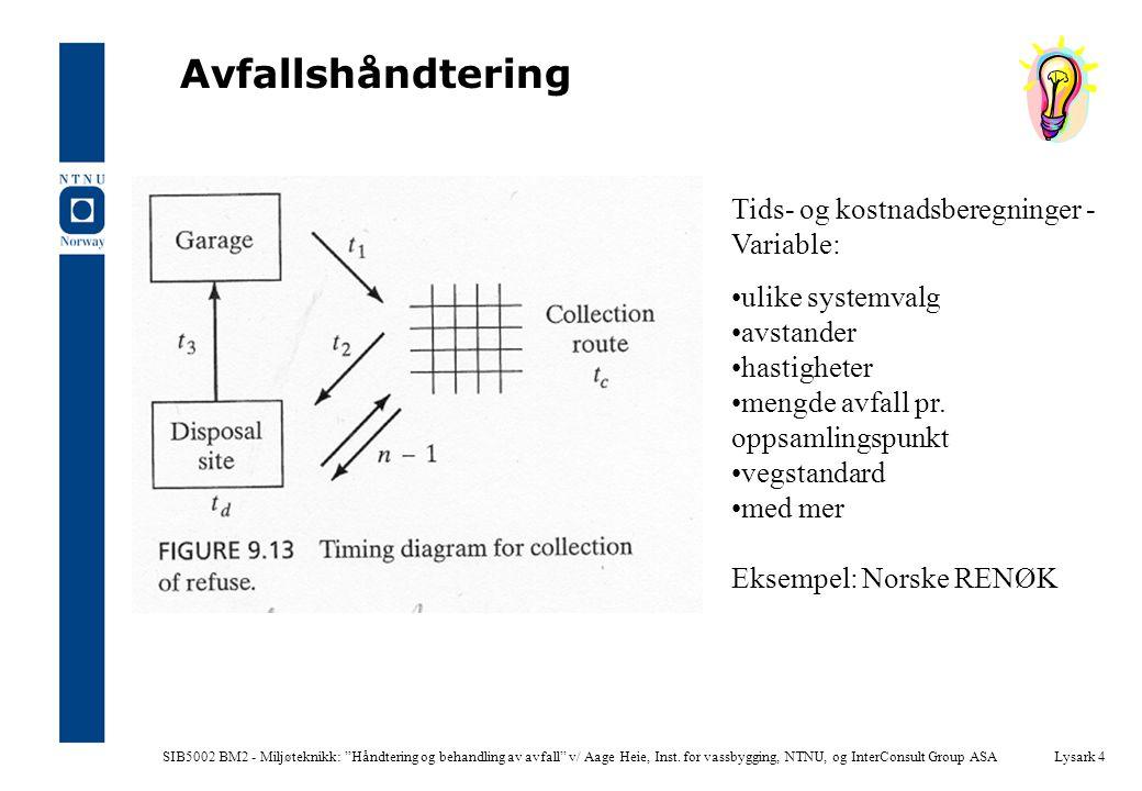 """SIB5002 BM2 - Miljøteknikk: """"Håndtering og behandling av avfall"""" v/ Aage Heie, Inst. for vassbygging, NTNU, og InterConsult Group ASALysark 4 Avfallsh"""