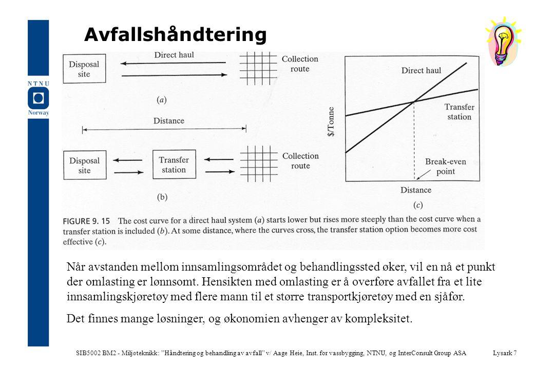 """SIB5002 BM2 - Miljøteknikk: """"Håndtering og behandling av avfall"""" v/ Aage Heie, Inst. for vassbygging, NTNU, og InterConsult Group ASALysark 7 Avfallsh"""