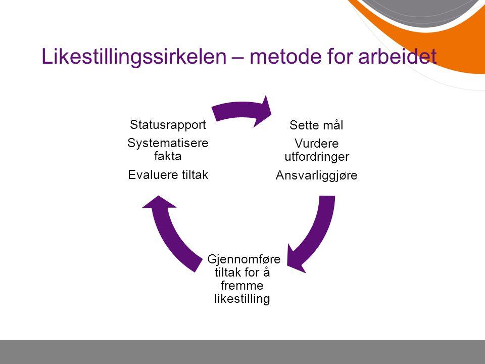 Likestillingssirkelen – metode for arbeidet Sette mål Vurdere utfordringer Ansvarliggjøre Gjennomføre tiltak for å fremme likestilling Statusrapport Systematisere fakta Evaluere tiltak