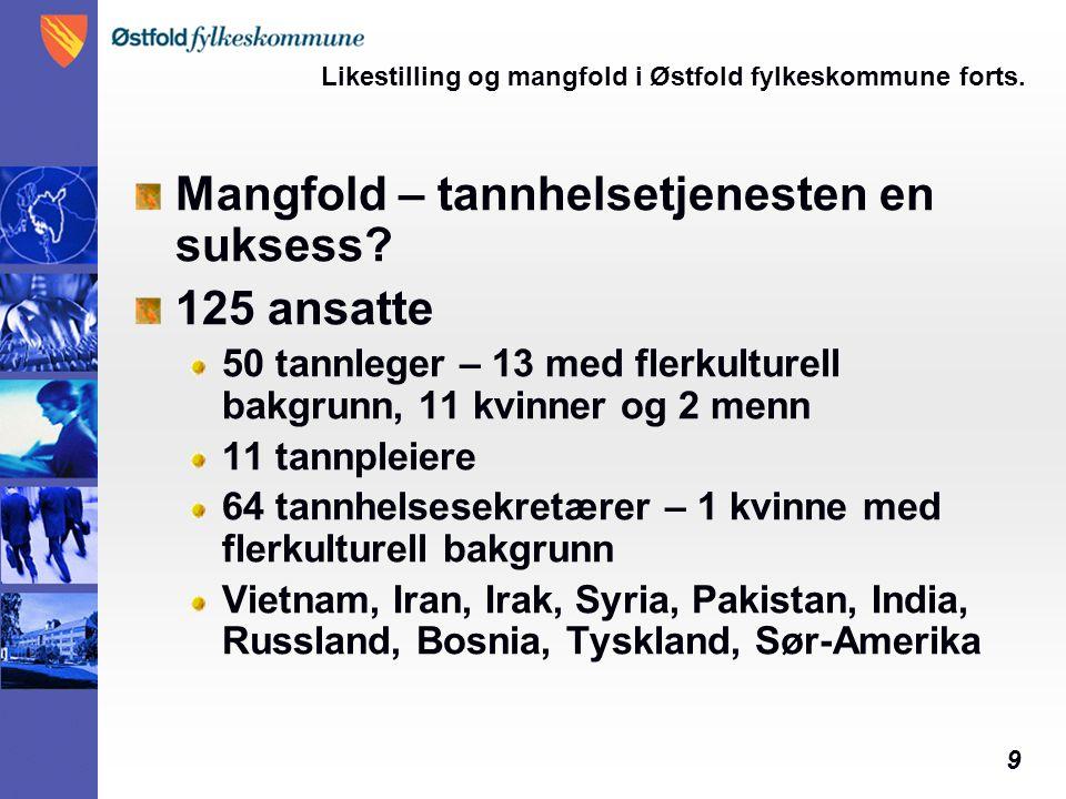 9 Likestilling og mangfold i Østfold fylkeskommune forts. Mangfold – tannhelsetjenesten en suksess? 125 ansatte 50 tannleger – 13 med flerkulturell ba