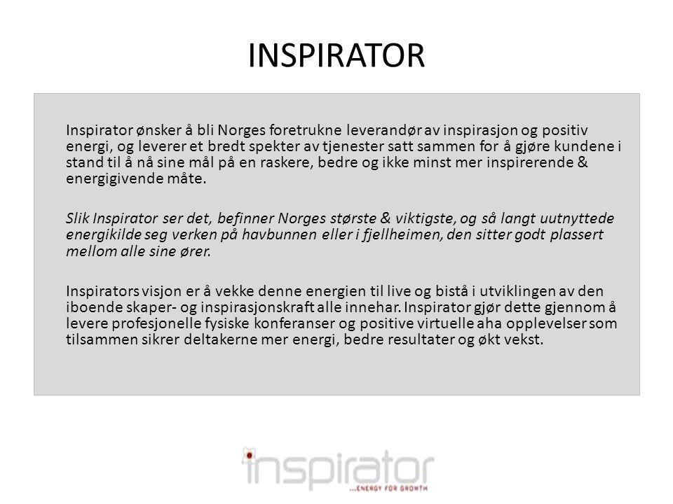 INSPIRATOR Inspirator ønsker å bli Norges foretrukne leverandør av inspirasjon og positiv energi, og leverer et bredt spekter av tjenester satt sammen for å gjøre kundene i stand til å nå sine mål på en raskere, bedre og ikke minst mer inspirerende & energigivende måte.