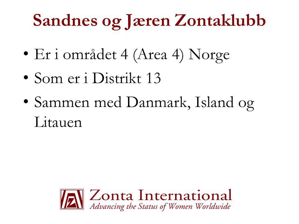 Sandnes og Jæren Zontaklubb • Er i området 4 (Area 4) Norge • Som er i Distrikt 13 • Sammen med Danmark, Island og Litauen