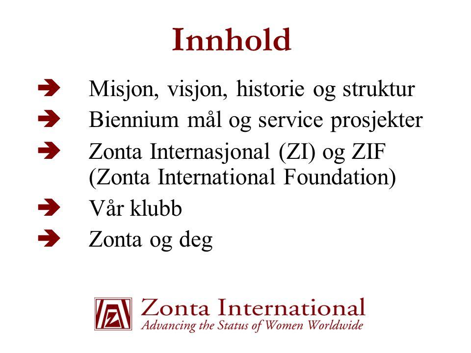 Innhold  Misjon, visjon, historie og struktur  Biennium mål og service prosjekter  Zonta Internasjonal (ZI) og ZIF (Zonta International Foundation)