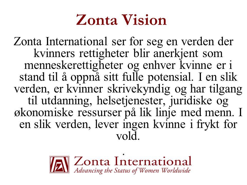 Zonta Historie  1919 - Grunnlagt i Buffalo, New York, USA  1930 - Zonta klubbene i USA blir Zonta International med den første europeiske klubben i Wien, Østerrike  1947 – den første norske klubben chartres i Oslo  1946 - Konsultativ status i FN