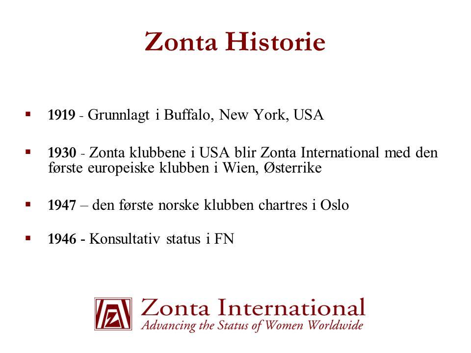 Zonta Historie  1919 - Grunnlagt i Buffalo, New York, USA  1930 - Zonta klubbene i USA blir Zonta International med den første europeiske klubben i