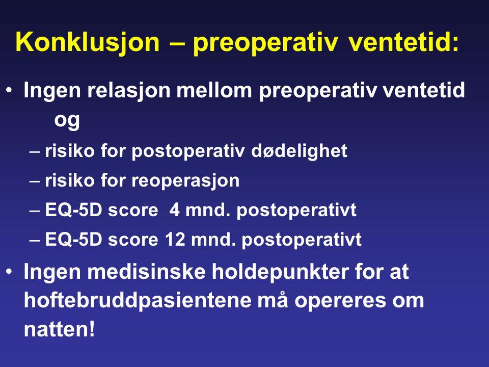 Konklusjon – preoperativ ventetid: •Ingen relasjon mellom preoperativ ventetid og –risiko for postoperativ dødelighet –risiko for reoperasjon –EQ-5D s