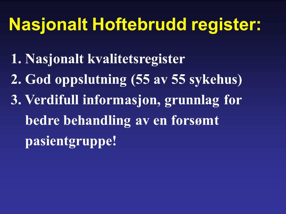 1. Nasjonalt kvalitetsregister 2. God oppslutning (55 av 55 sykehus) 3. Verdifull informasjon, grunnlag for bedre behandling av en forsømt pasientgrup