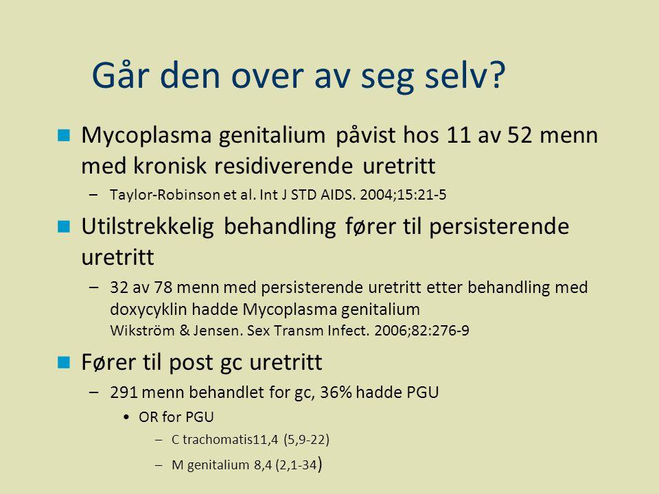 Går den over av seg selv?  Mycoplasma genitalium påvist hos 11 av 52 menn med kronisk residiverende uretritt –Taylor-Robinson et al. Int J STD AIDS.