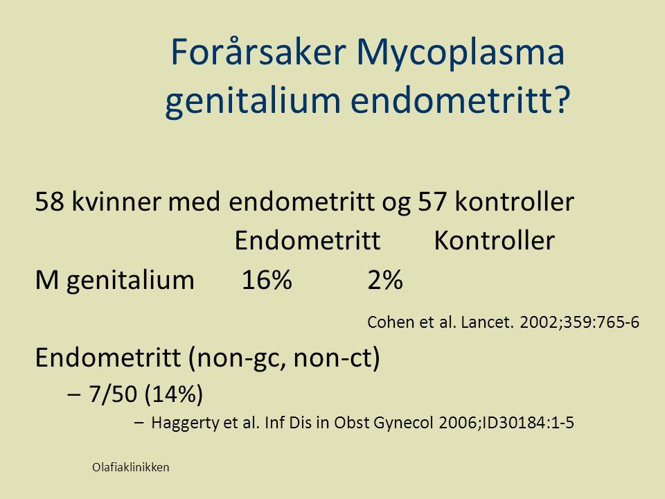 Forårsaker Mycoplasma genitalium endometritt? 58 kvinner med endometritt og 57 kontroller Endometritt Kontroller M genitalium 16% 2% Cohen et al. Lanc