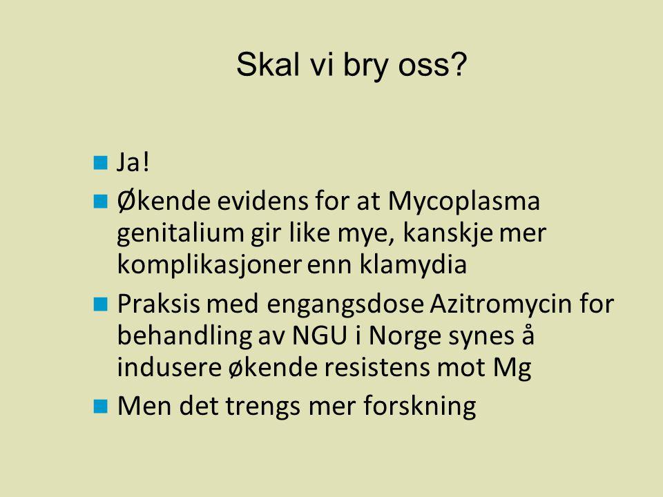  Ja!  Økende evidens for at Mycoplasma genitalium gir like mye, kanskje mer komplikasjoner enn klamydia  Praksis med engangsdose Azitromycin for be