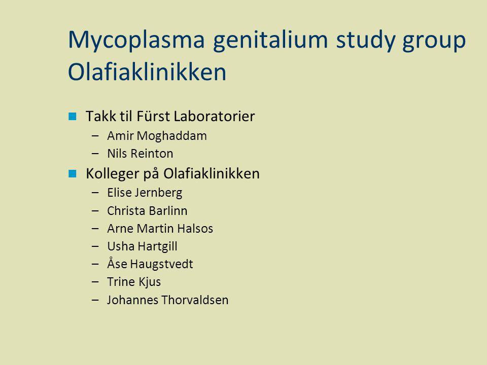 Mycoplasma genitalium study group Olafiaklinikken  Takk til Fürst Laboratorier –Amir Moghaddam –Nils Reinton  Kolleger på Olafiaklinikken –Elise Jer