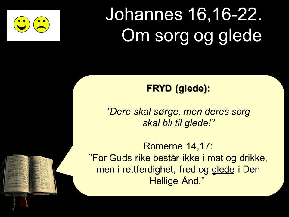 """Johannes 16,16-22. Om sorg og glede FRYD (glede): """"Dere skal sørge, men deres sorg skal bli til glede!"""" Romerne 14,17: """"For Guds rike består ikke i ma"""