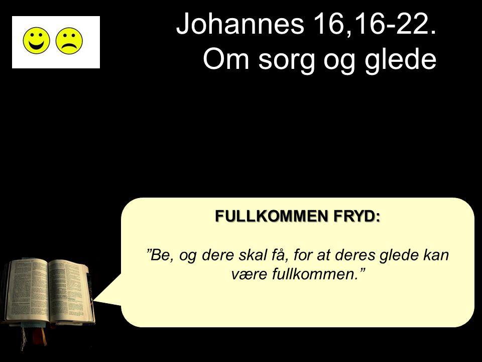 "Johannes 16,16-22. Om sorg og glede FULLKOMMEN FRYD: ""Be, og dere skal få, for at deres glede kan være fullkommen."""