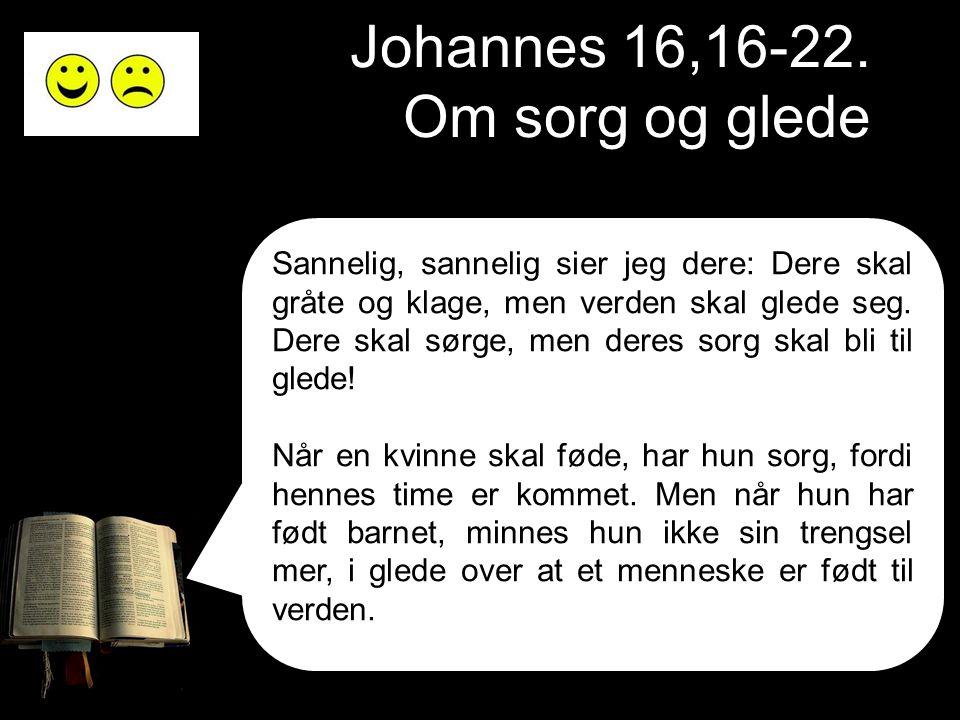 Johannes 16,16-22. Om sorg og glede Sannelig, sannelig sier jeg dere: Dere skal gråte og klage, men verden skal glede seg. Dere skal sørge, men deres
