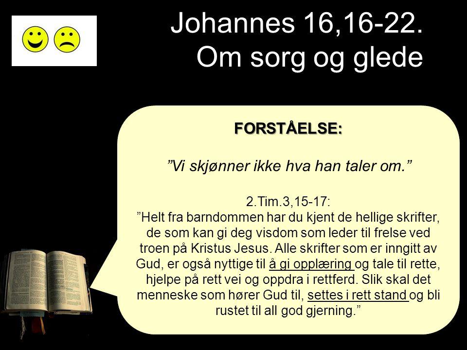 """Johannes 16,16-22. Om sorg og glede FORSTÅELSE: """"Vi skjønner ikke hva han taler om."""" 2.Tim.3,15-17: """"Helt fra barndommen har du kjent de hellige skrif"""