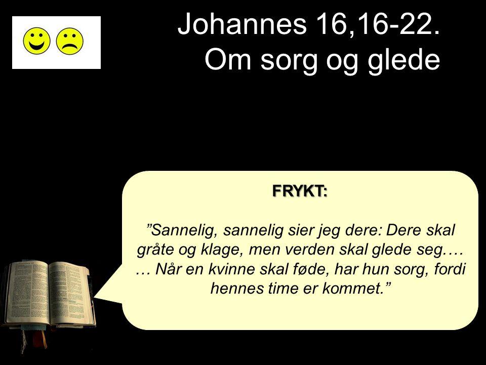 """Johannes 16,16-22. Om sorg og glede FRYKT: """"Sannelig, sannelig sier jeg dere: Dere skal gråte og klage, men verden skal glede seg.… … Når en kvinne sk"""