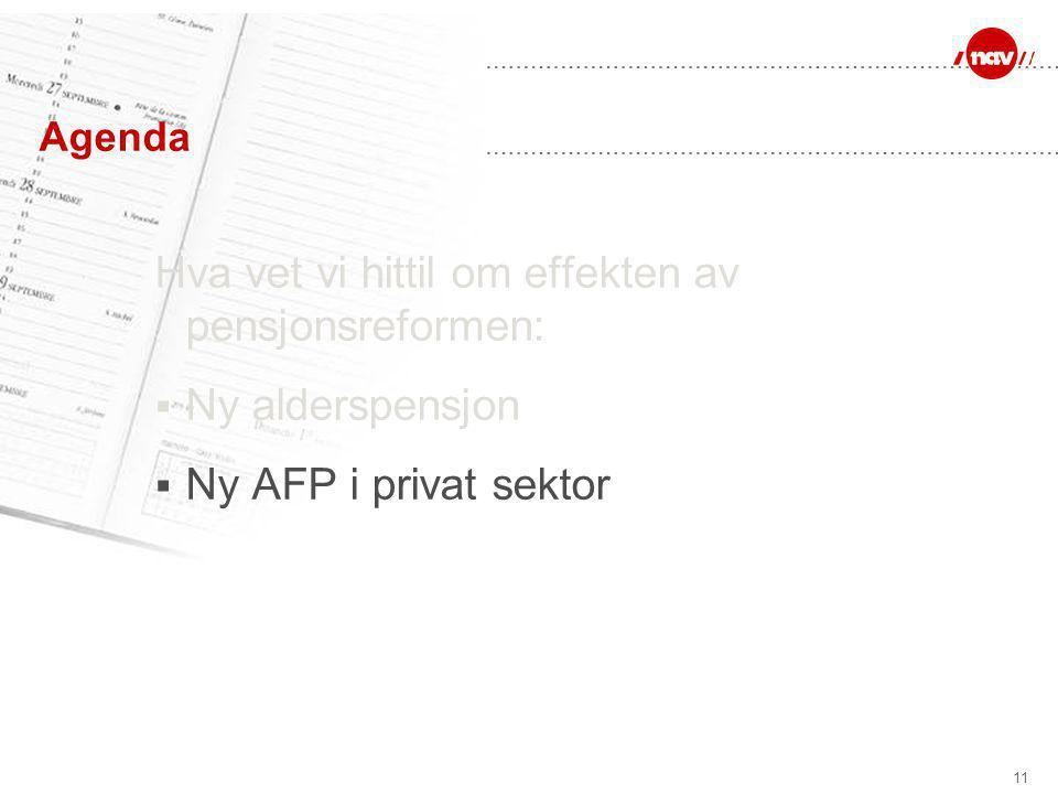 11 Agenda Hva vet vi hittil om effekten av pensjonsreformen:  Ny alderspensjon  Ny AFP i privat sektor