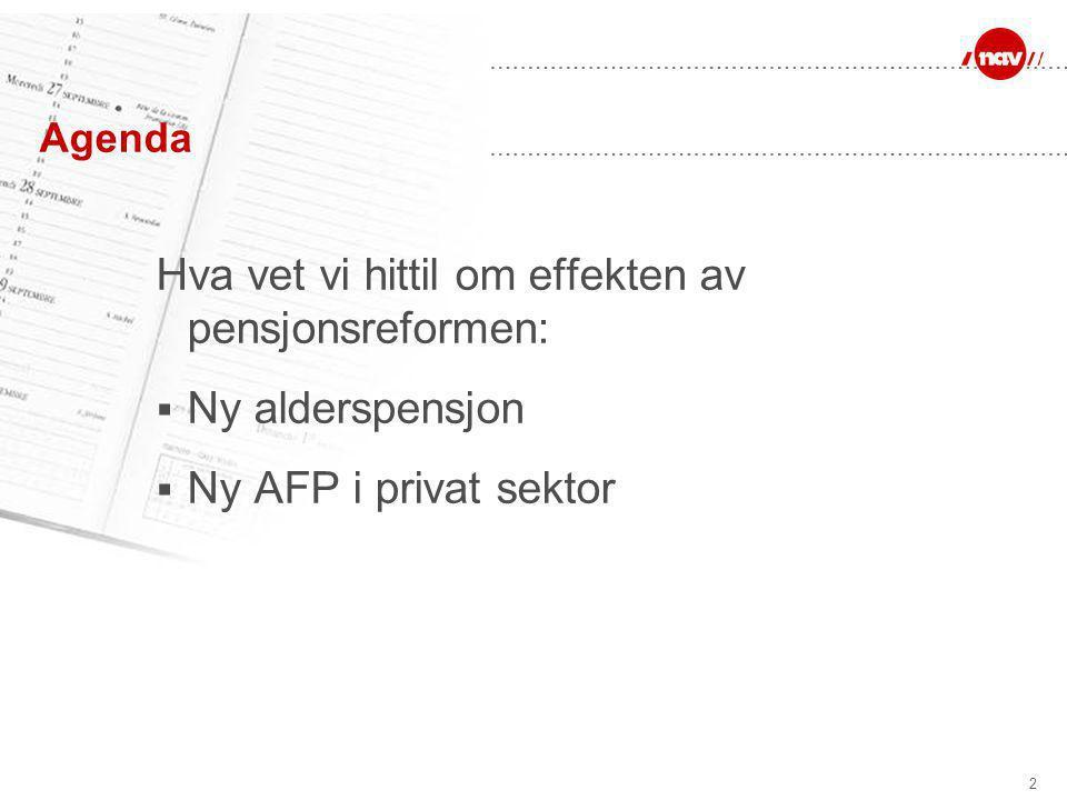2 Agenda Hva vet vi hittil om effekten av pensjonsreformen:  Ny alderspensjon  Ny AFP i privat sektor