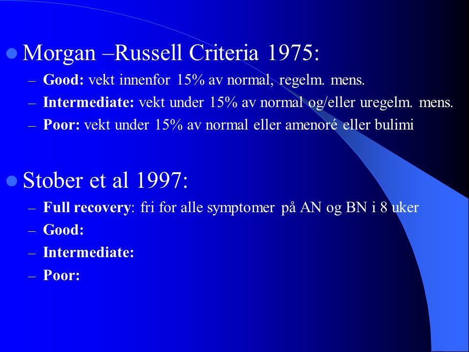  Morgan –Russell Criteria 1975: – Good: vekt innenfor 15% av normal, regelm. mens. – Intermediate: vekt under 15% av normal og/eller uregelm. mens. –