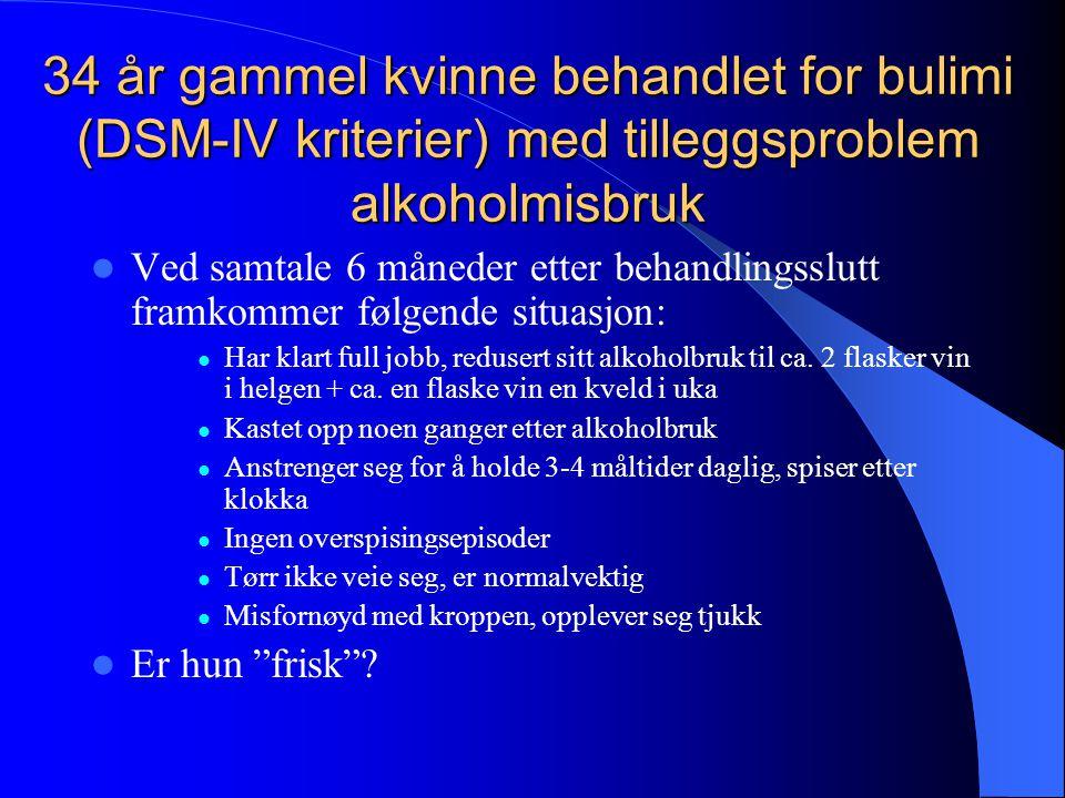 34 år gammel kvinne behandlet for bulimi (DSM-IV kriterier) med tilleggsproblem alkoholmisbruk  Ved samtale 6 måneder etter behandlingsslutt framkomm