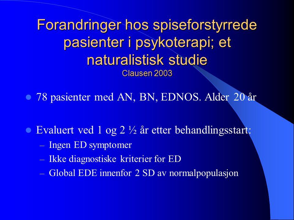 Forandringer hos spiseforstyrrede pasienter i psykoterapi; et naturalistisk studie Clausen 2003  78 pasienter med AN, BN, EDNOS. Alder 20 år  Evalue