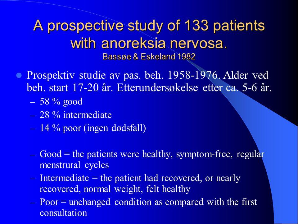 A prospective study of 133 patients with anoreksia nervosa. Bassøe & Eskeland 1982  Prospektiv studie av pas. beh. 1958-1976. Alder ved beh. start 17