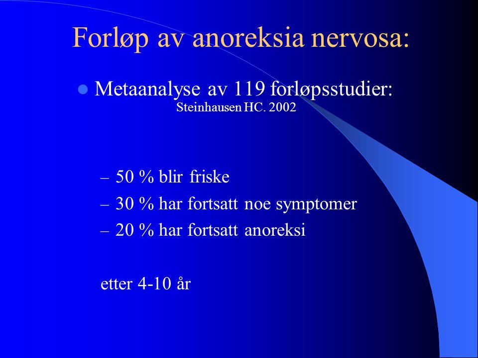  Metaanalyse av 119 forløpsstudier: Steinhausen HC. 2002 – 50 % blir friske – 30 % har fortsatt noe symptomer – 20 % har fortsatt anoreksi etter 4-10